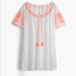 J. Crew Embroidered Tie Front Tunic Cover Up S